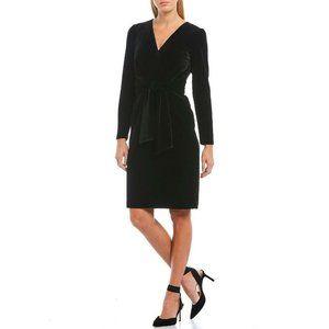 Antonio Melani Nel Black Velour Tie Sash Dress